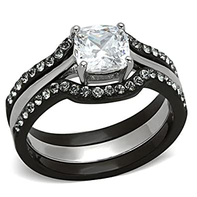Amazoncom Black Stainless Steel Wedding Ring Sets Cushion Cut
