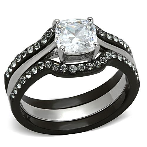Black Stainless Steel Wedding Ring Set Cushion Cut Cubic Zirconia Women size 4.5 to 11 SPJ