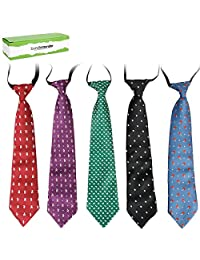 Bundle Monster 5 pc Boys Mixed Pattern Pre-Tied Elastic Fashion Neckties - Set 4