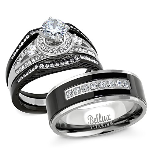 His and Hers Wedding Ring Sets Stainess Steel Vintage Style Halo Deisgn Bridal Sets Wedding Rings with Matching Wedding Band (Women's Size 10 & Men's Size 10)