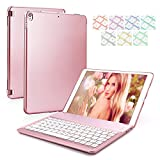 iPad Pro Keyboard Case for 10.5 7 Color Backlit Keyboard Case with Auto Sleep Wake up Feature Wireless Bluetooth Keyboard for Apple iPad Pro 10.5 inch 2017 Tablet (Rose Gold)