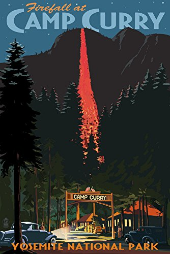 Yosemite National Park, California - Firefall and Camp Curry (12x18 Art Print, Wall Decor Travel Poster) ()