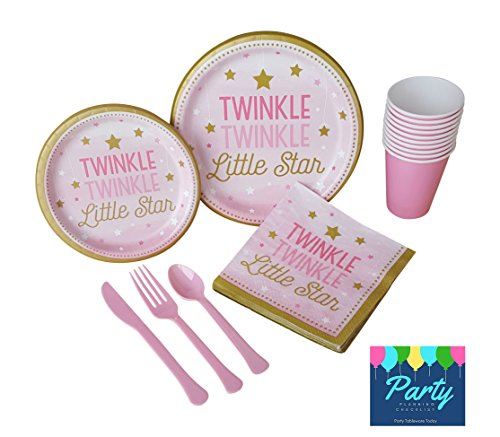 Twinkle Twinkle Little Star Pink Deluxe Party Supply Pack for 16 Guests - Large Plates, Small Plates, Napkins, Cups & (Twinkle Twinkle Little Star Paper Plates)