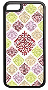 06-Large and Small Damasks-Pattern- Case for the APPLE IPHONE 5, 6 4.7-NOT THE 6 4.7!!!-Hard Black Plastic Outer Case with Tough Black Rubber Lining