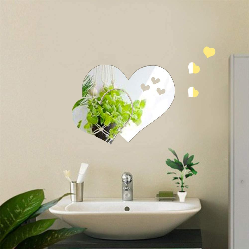 LZYMSZ 3D Acrylic Mirror Wall Decor Stickers, 2 Sets Double Heart Shaped DIY Self-Adhesive Wall Art Decals Home Decorations for Living Room, Bedroom, Bathroom, Farmhouse (Silver)