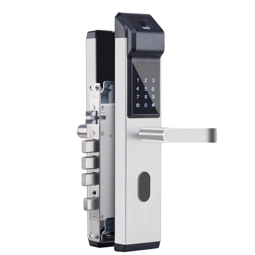 Homyl スマート 指紋 ドアロック ICカード 電子ロック ホーム セキュリティ 全3色 銀 B07D2YGMVB 銀 銀