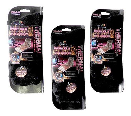- 3 Pair Ladies Black Heat Zone Heated Socks Thermal Insulated Boot Socks 100% Mega Brush