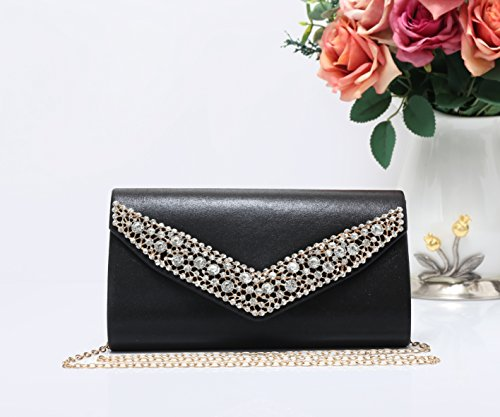Lightweight Black2 Bag Black Shape and Clutch Evening Glitter Women's V Foxlady's Envelope SqITFIx