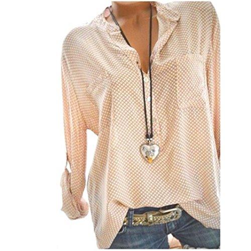 Chic Chemisier Dcontract Lache V Vest T Shirt Manches Loisirs Tops Femme Automne Longues Lady Blouse imprime Chemise Beige en Encolure V Pois Col Casual dXRR4pxY