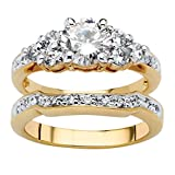 Palm Beach Jewelry 18K Yellow Gold-Plated Round Cubic Zirconia Bridal Ring Set Size 7