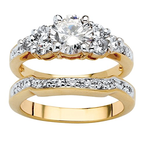 (Palm Beach Jewelry 18K Yellow Gold-Plated Round Cubic Zirconia Bridal Ring Set Size)