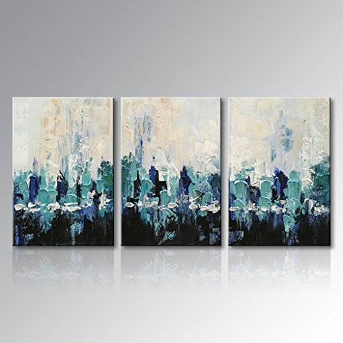 Everfun Art Hand Painted Abstract Figure Oil Painting Blue Scenery Canvas Wall Art Home Decor for Living Room Bedroom Dining Room Stretched and Framed Ready to Hang (72''W x 36''H (24''x 36'' x 3 pcs)) by EVERFUN ART