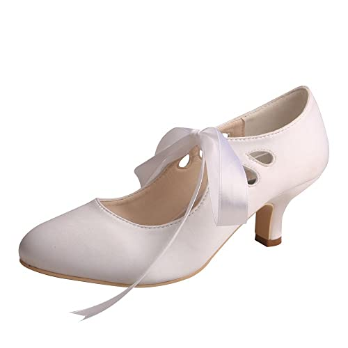 be79cfeb31 Wedopus WDF7051 Women Pumps Cut Out Closed Toe Mary Jane Heels Satin Lace  up Shoes Wedding for Bride
