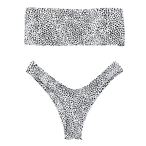 Leopard Bandeau (ZAFUL Women's Sexy Two Piece Strapless Leopard Print Bandeau Bikini Sets Swimwear Bathing Suits(White,S))