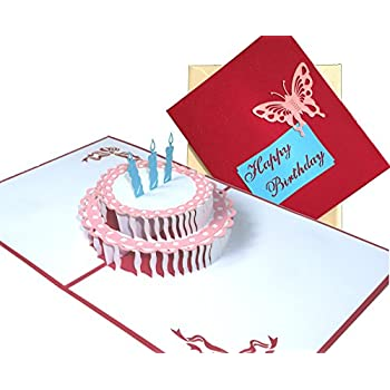 Amazon Happy Birthday Cake 3d Pop Up Greeting Card Write In