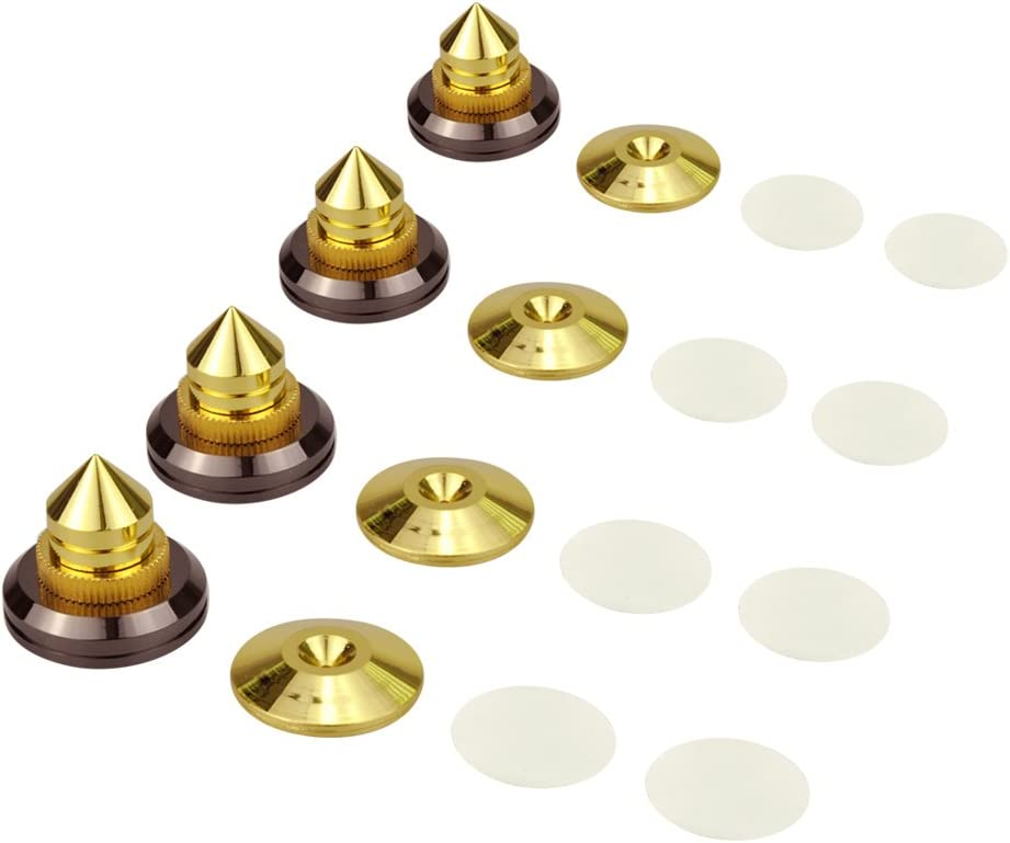 4x Spike Cone 4x Gold Pad Base Isolation Improved Sound Kit Set Audio Speaker G