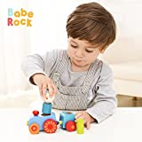 BabeRock Magnetic Mini Train Set for Toddlers - Stacking Wooden Educational Toys