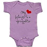 inktastic My Heart Belongs Firefighter Infant Creeper Newborn Lavender