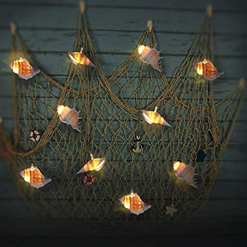 SFgift Ocean Real Conch Beach Themed String Lights, 9.18ft Waterproof Battery Operated LED Lights with Timer, 10 Warm White LEDs for Indoor Covered Outdoor Birthday Wedding Summer Holiday Parties