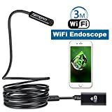 Fantronics 3M Rigid Cable WIFI Borescope Wireless Endoscope Inspection Camera 2.0 Megapixels HD Snake Camera for Android and IOS Smartphone, iPhone, Samsung, Tablet,Macbook