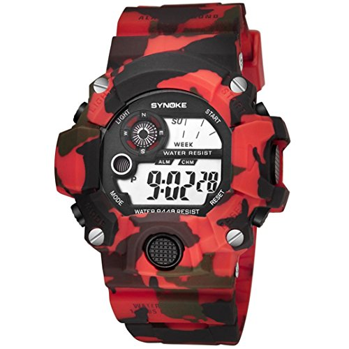 SYNOKE Waterproof Men's LED Digital Quartz Sports Watch (Red) - 6