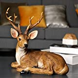 ARAIDECOR Festive Deer Animal Sculpture Home Decor or Outdoor Garden Statue - 13 x 12 x 7 Inches