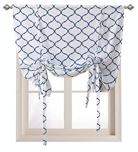 Regal Home Collections Shabby Lattice Kitchen Curtains - Assorted Colors & Sizes (Hunter Navy, Tie Up Shade)