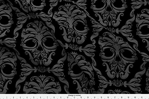 Spoonflower Halloween Fabric Scrollwork Skulls - Black and Gray by Thecalvarium Printed on Fleece Fabric by The -
