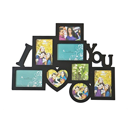 Adeco Decorative Black Wood 8 Openings Decorative Wood ''I Love You'' Collage Wall Hanging Picture Photo Frame, 4x6 in, 4.5x5 in, 3.5x5 in and 4x4 in -