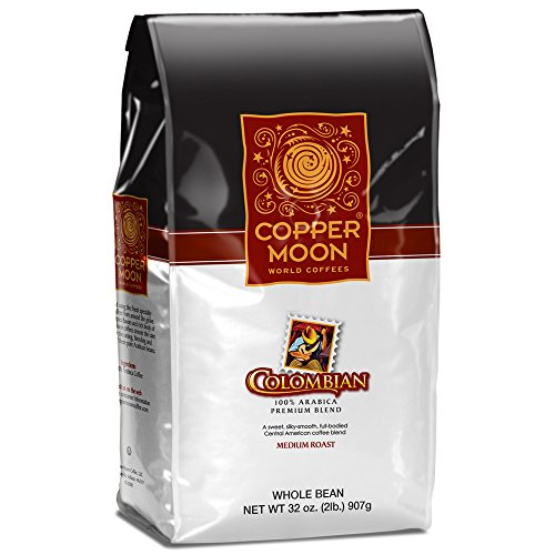Copper Moon Whole Bean Coffee Colombian 2 Pound Whole Bean Medium Roast Small Batch Coffee, Full-Bodied Rich in Flavor, Medium to High Acidity, 100% Arabica ()