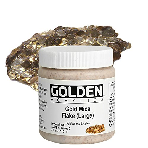 Golden Artist Colors 4 Oz Heavy Body Interference Color Acrylic Paint Color  Gold Mica Flake(Large), Yellow (Oz Acrylic Golden Paint 4)