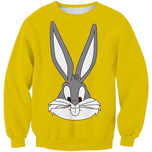 Lady Queen Women's Bugs Bunny 3D Print Sweatshirt Pullovers Size M Yellow]()