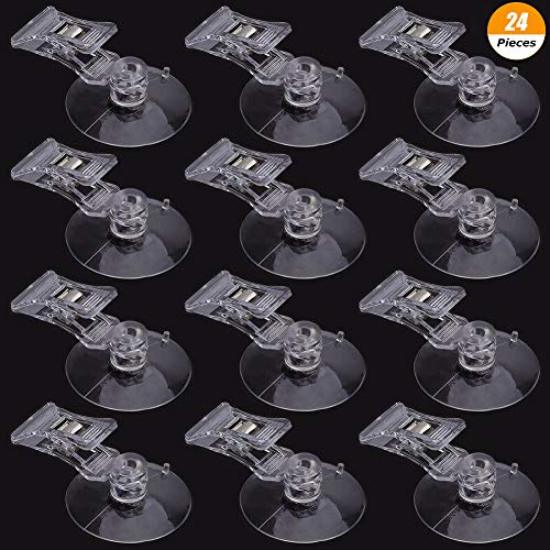 DSSY 24 Pieces 40mm Suction Cup Clip Advertising Pop Display Sign Clips Business Cards Holder Stand Clear Clamps