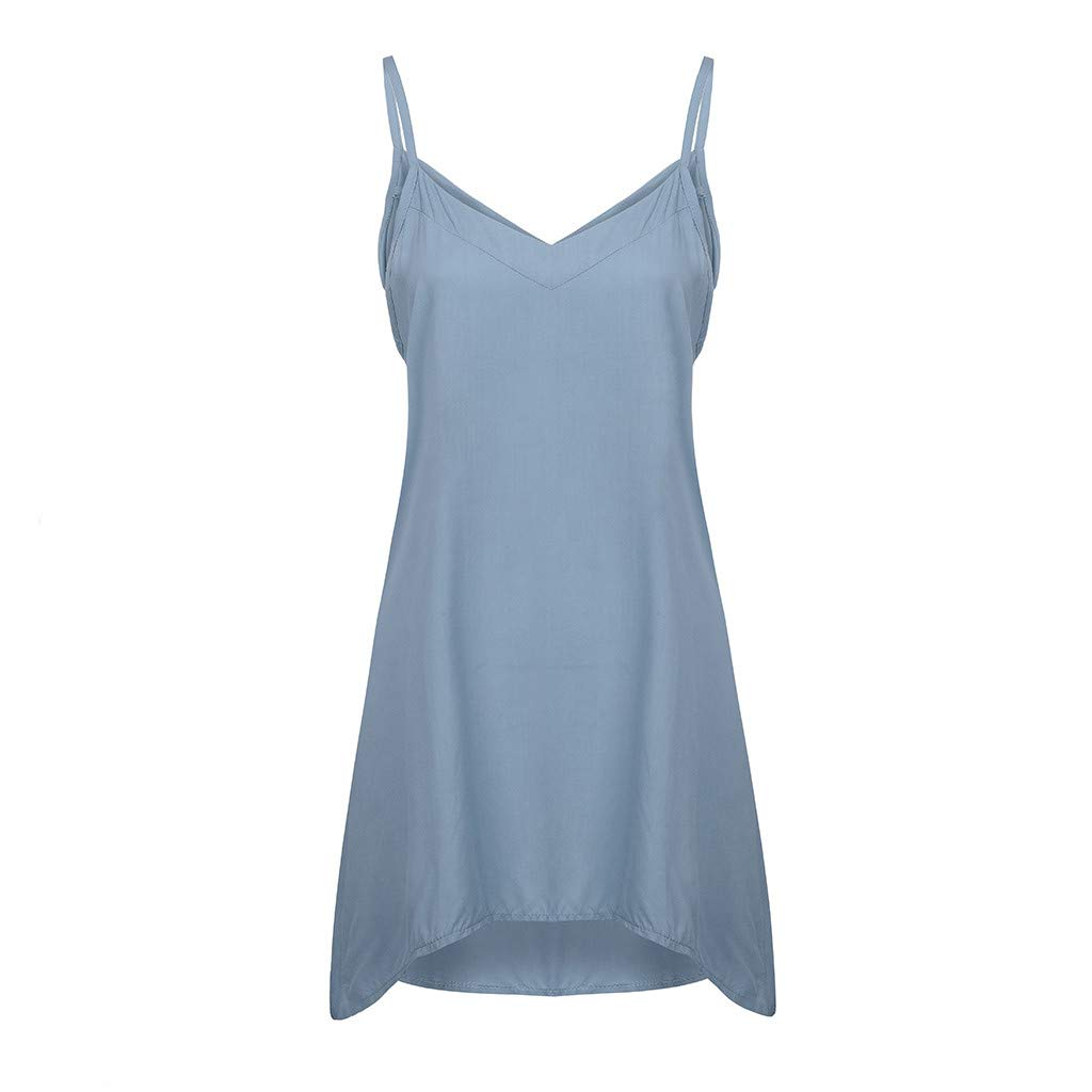 Womens V-Neck Camis Solid Camisole Sleeveless Casual Loose Tops Tunic T-Shirt Vest Plus Size Blouse (Sky Blue, S)