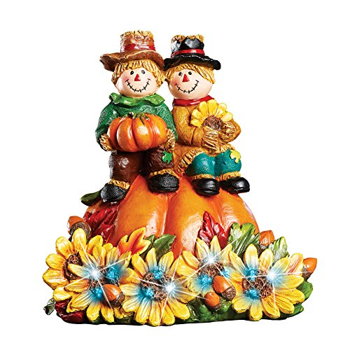 Collections Etc Fiber Optic Lighted Fall Scarecrows Figurine Tabletop Décor with Sunflowers and Pumpkins