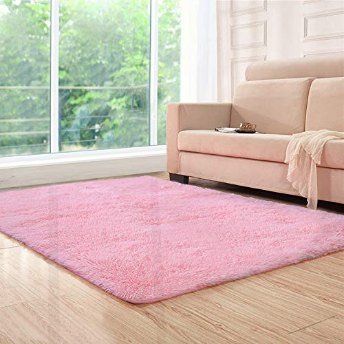 Lee D.Martin Indoor Area Rugs Living Room Bedroom Rectangle Ultra Soft Carpets Modern Shaggy Children Rugs Anti-Slip Backed Home Décor Rug,3.94'x5.25',Pink