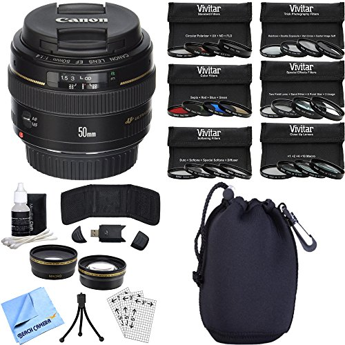 Canon EF 50mm f/1.4 USM Telephoto Lens for Canon SLR Cameras Photography Bundle includes Lens, Pouch, 58mm Ultimate Filter Kit, Wide Angle Lens, Telephoto Lens, Beach Camera Cloth and More by Beach Camera