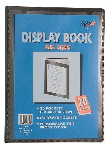 1 x A5 20 Pockets (40 Views) Display Books Black Project Presentation Folder Document Folio Hard Cover (Folio Presentation)