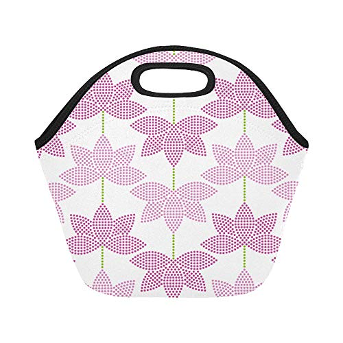 Insulated Neoprene Lunch Bag Magic Lotus With Bright Thinking Zen Life Spirit Meditation Yoga Large Size Reusable Thermal Thick Lunch Tote Bags For Lunch Boxes For Outdoors,work, Office, ()