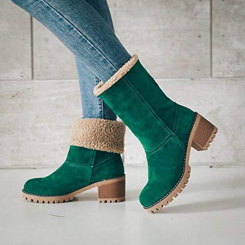 Flock Snow Boots Winter Ladies Green Warm Martin Short Bootie Shoes Boots Womens TRBcq8