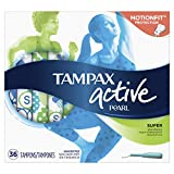 Tampax Pearl Active Plastic Applicator Tampons, Super Absorbency, Unscented, 36 Count - Pack of 6 (216 Total Count) (Packaging May Vary)