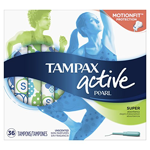 (Tampax Pearl Active Tampons with Plastic Applicator, Super Absorbency, Unscented, 36 Count - Pack of 6 (216 Count Total) (Packaging May Vary))