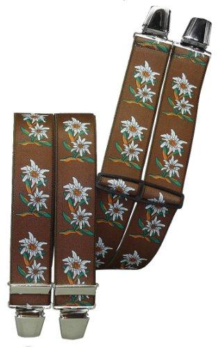 Hosenträger mit 4 extra starken Clips Edelweiß 6 Farben!, Farben:braun