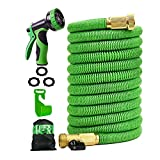 Expandable Garden Hose 50 ft Flexible Expanding Water Hose with 3/4 Inch 100% Solid Brass Fittings 9 Function Hose Nozzle, 50' Lightweight Gardening Hose, Outdoor Yard Cloth Hoses