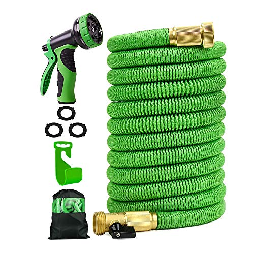 Expandable Garden Hose 50 ft Flexible Expanding Water Hose with 3/4 Inch 100% Solid Brass Fittings 9 Function Hose Nozzle, 50' Lightweight Gardening Hose, Outdoor Yard Cloth Hoses by isGarden