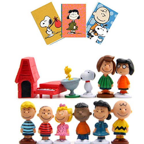Peanuts Figurines Toys Movie Classic Figures Set of 12 + 1 Card Stickers Great Cupcake Toppers Party Decorations Birthday with Charlie Brown Snoopy and Friends - 3 to 5 cm