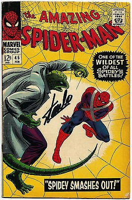 STAN LEE HAND SIGNED SPIDERMAN #45 COMIC BOOK PSA/DNA GRADED GEM MINT 10! V07896