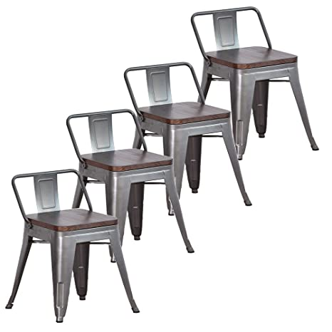 Prime Muju 18 Low Back Metal Bar Stools With Wooden Seat Barstools Set Of 4 For Indoor Outdoor Kitchen Dining Room Chairsgunmetal Beatyapartments Chair Design Images Beatyapartmentscom