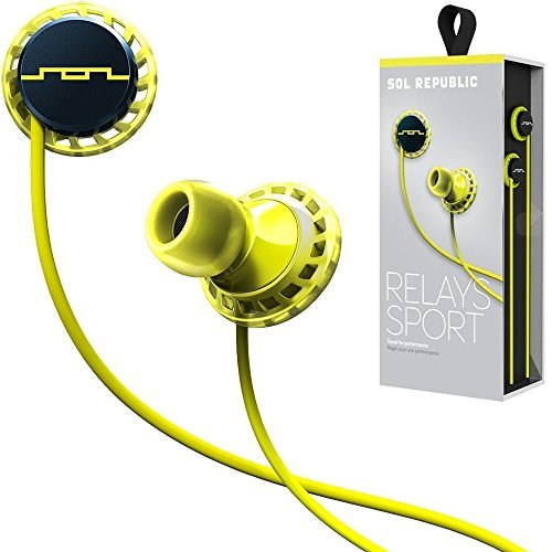 SOL REPUBLIC Relays Sport Wired 1-Button In-Ear Headphones, Android Compatible, Secure Fit For Workouts, Won't Fall Out, In-Ear Noise Isolation, 4 Ear Tip Sizes, Great For Calls, 1152-40 Lemon Lime