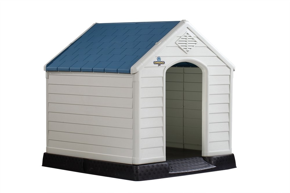 Confidence Pet Waterproof Plastic Dog Kennel Outdoor Winter House (Large) (Renewed)